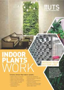 Page 1 of the colourful UTS Indoor Plants Work Brochure