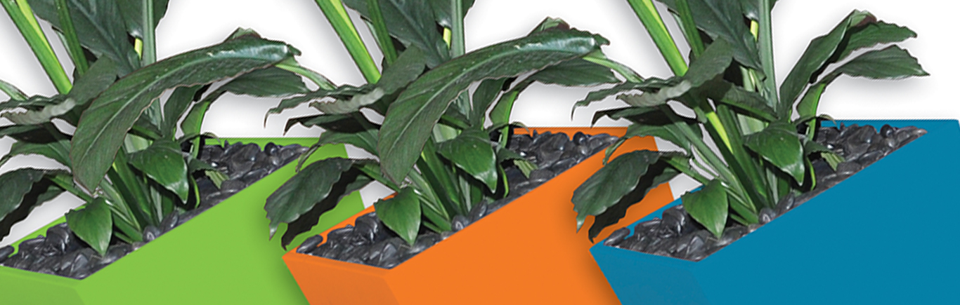 An image of the three planters in Green, Orange and Blue used on our vans.