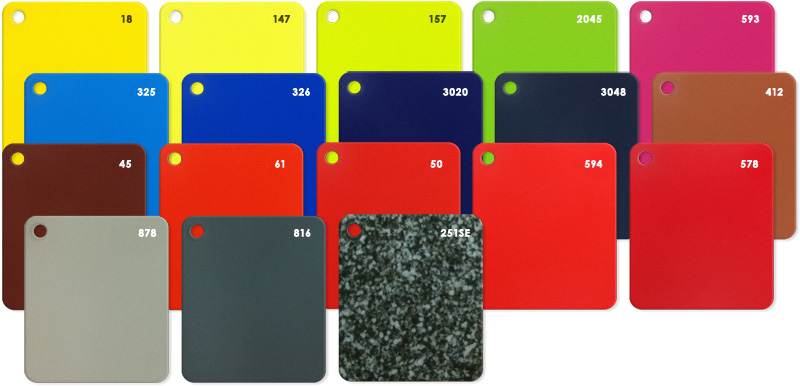 Showing Cottapot Extended Colours range chits including granite look alike.