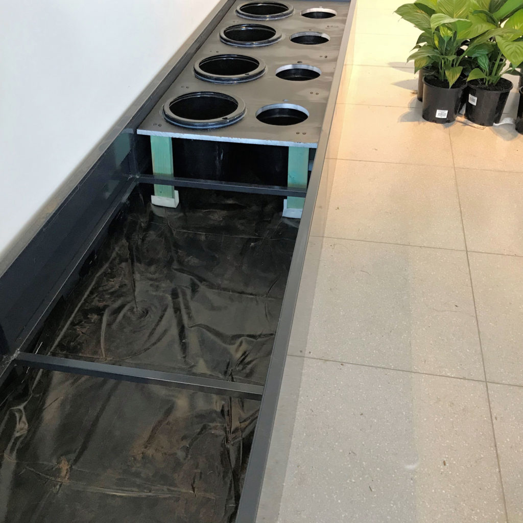 An image of a custom made planter showing the internal configuration.