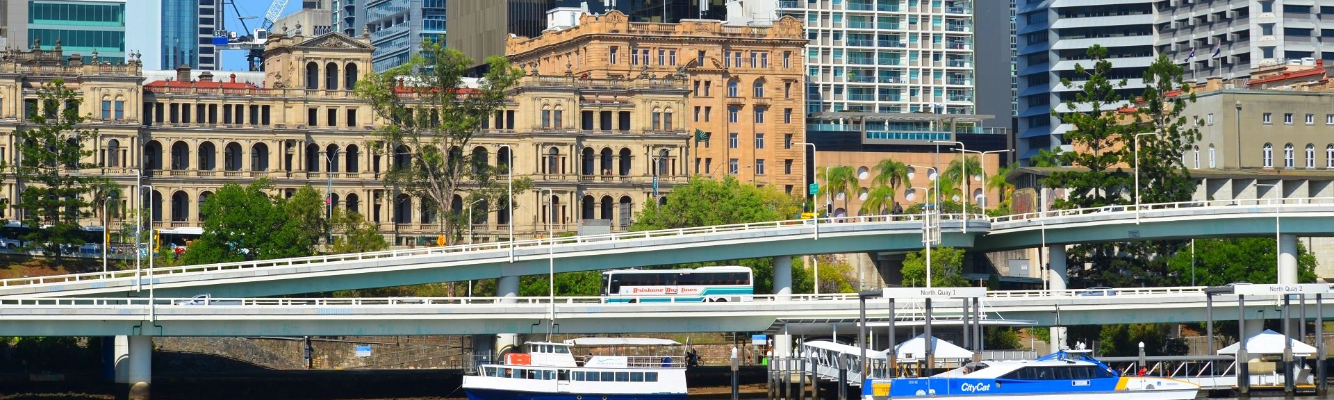 Image showing freeways crossing the Brisbane River Qld with offices in the background.