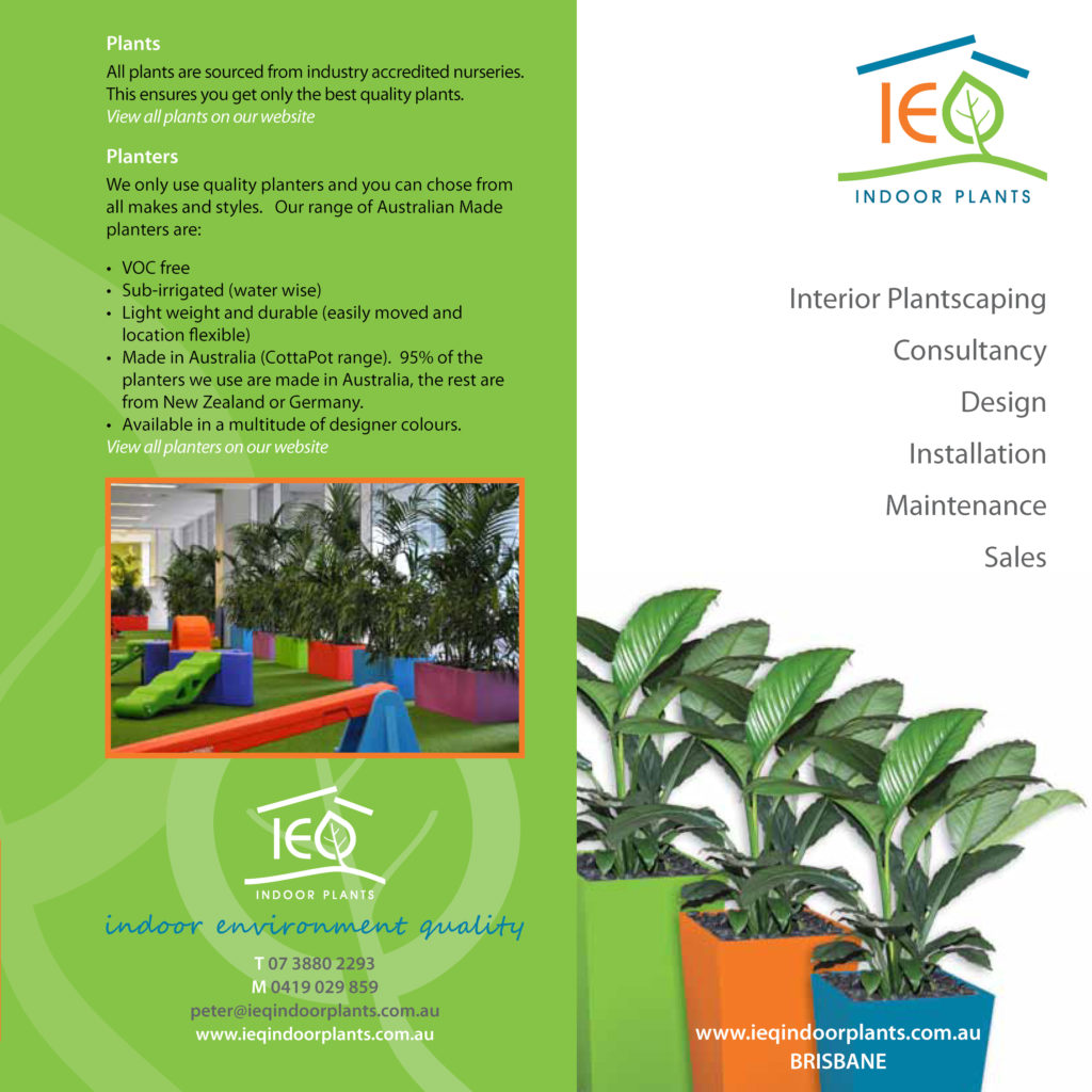 Showing two pages of a Brochure about IEQ Indoor Plants