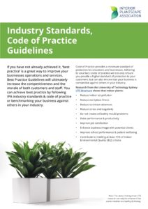 IPA Maintenance Standards - Page 1/2. Showing text and images of well maintained indoor plants.